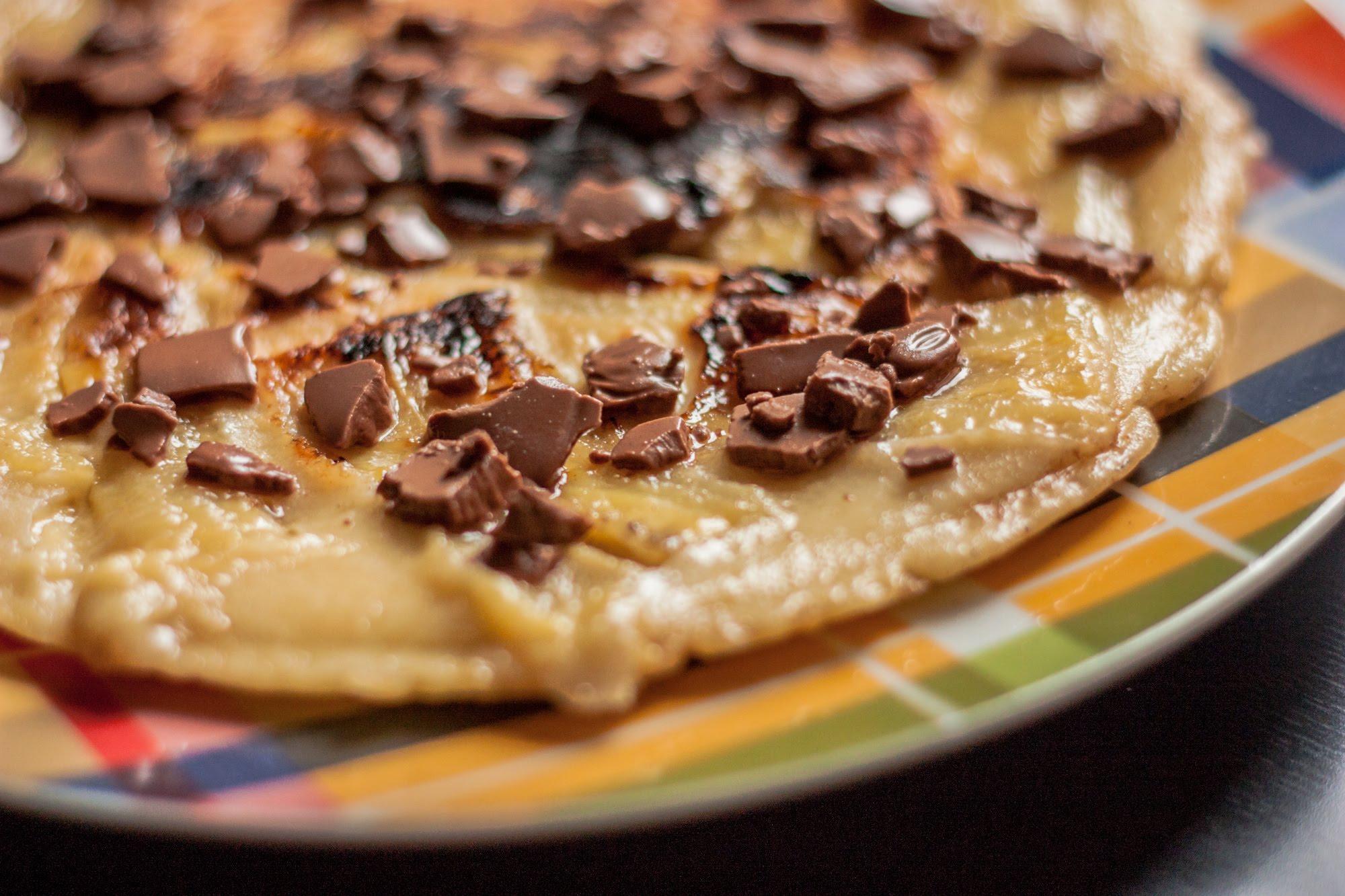 banana pancakes s čokoládou