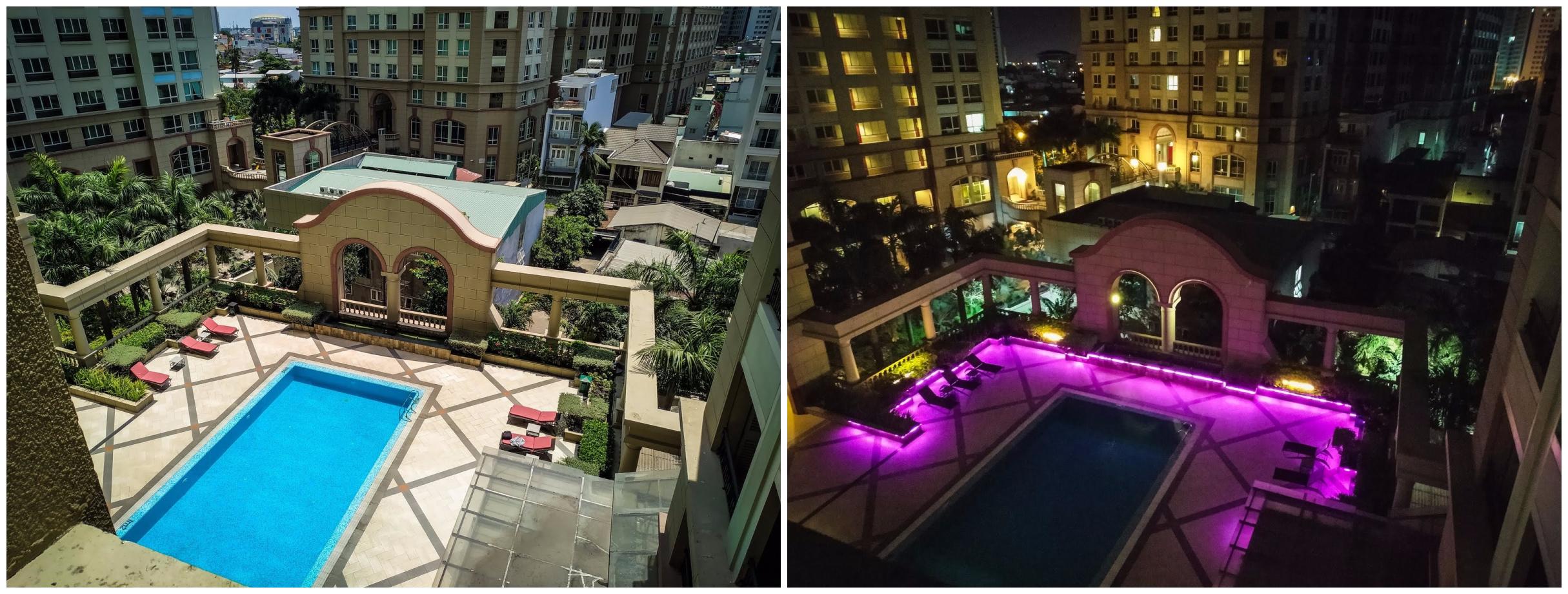 bazén v hotelu v Ho Či Minově městě ve dne a v noci